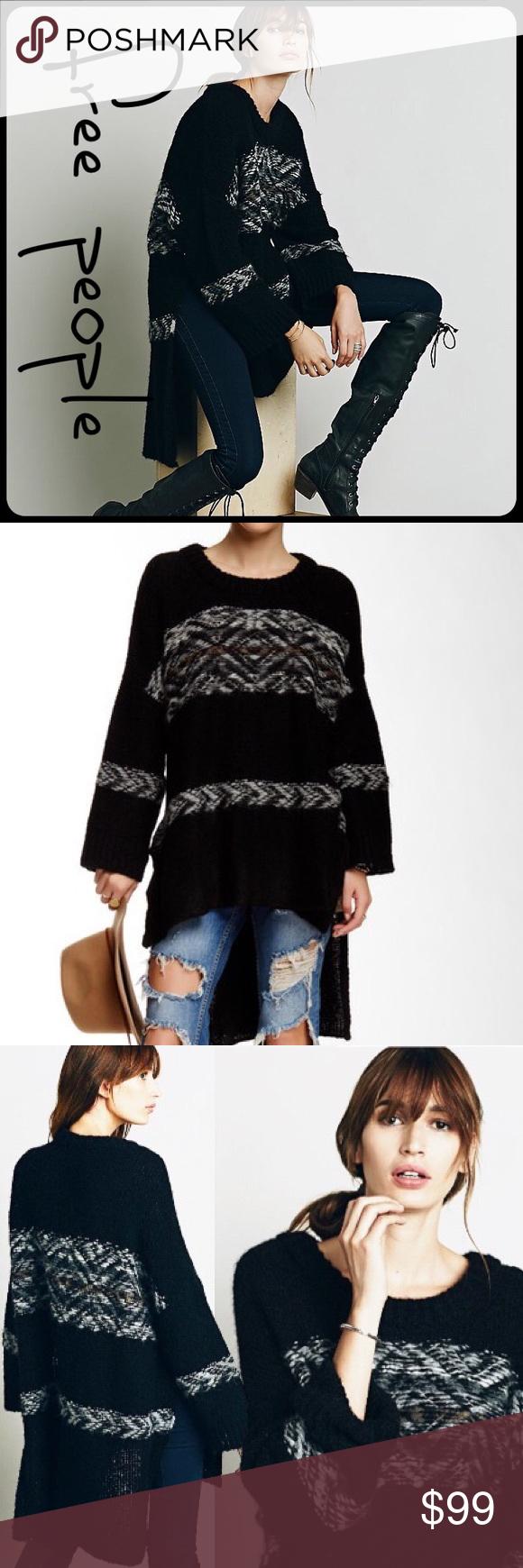 Free People Alpaca Fairisle Tunic Oversize Sweater Effortlessly ...
