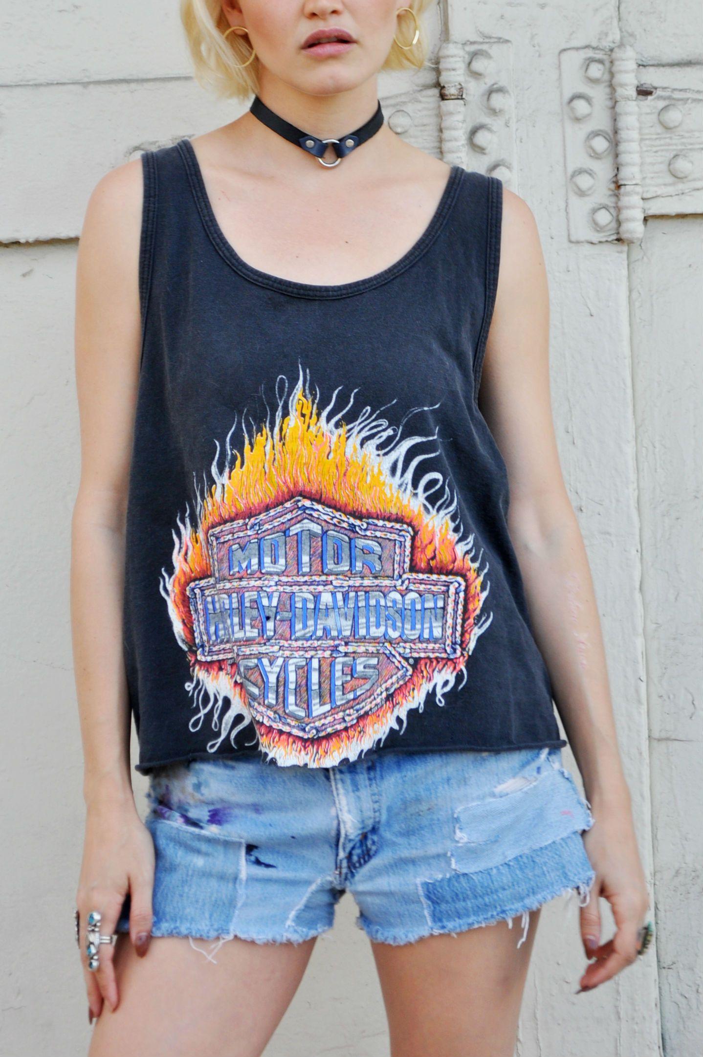 In Flames Harley Davidson 3D Emblem Tee