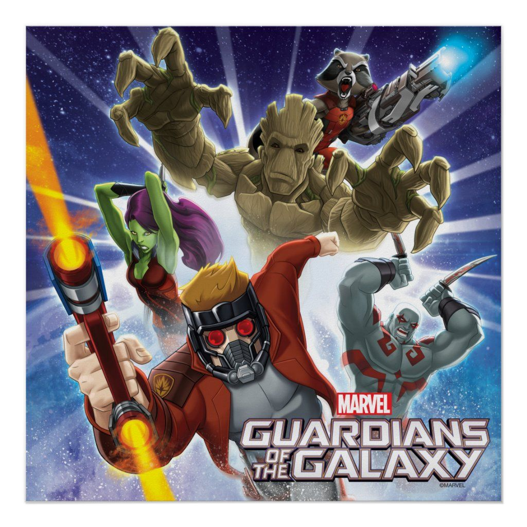 Guardians Of The Galaxy Group Attack Poster Zazzle Com Guardians Of The Galaxy Starlord And Gamora Custom Posters
