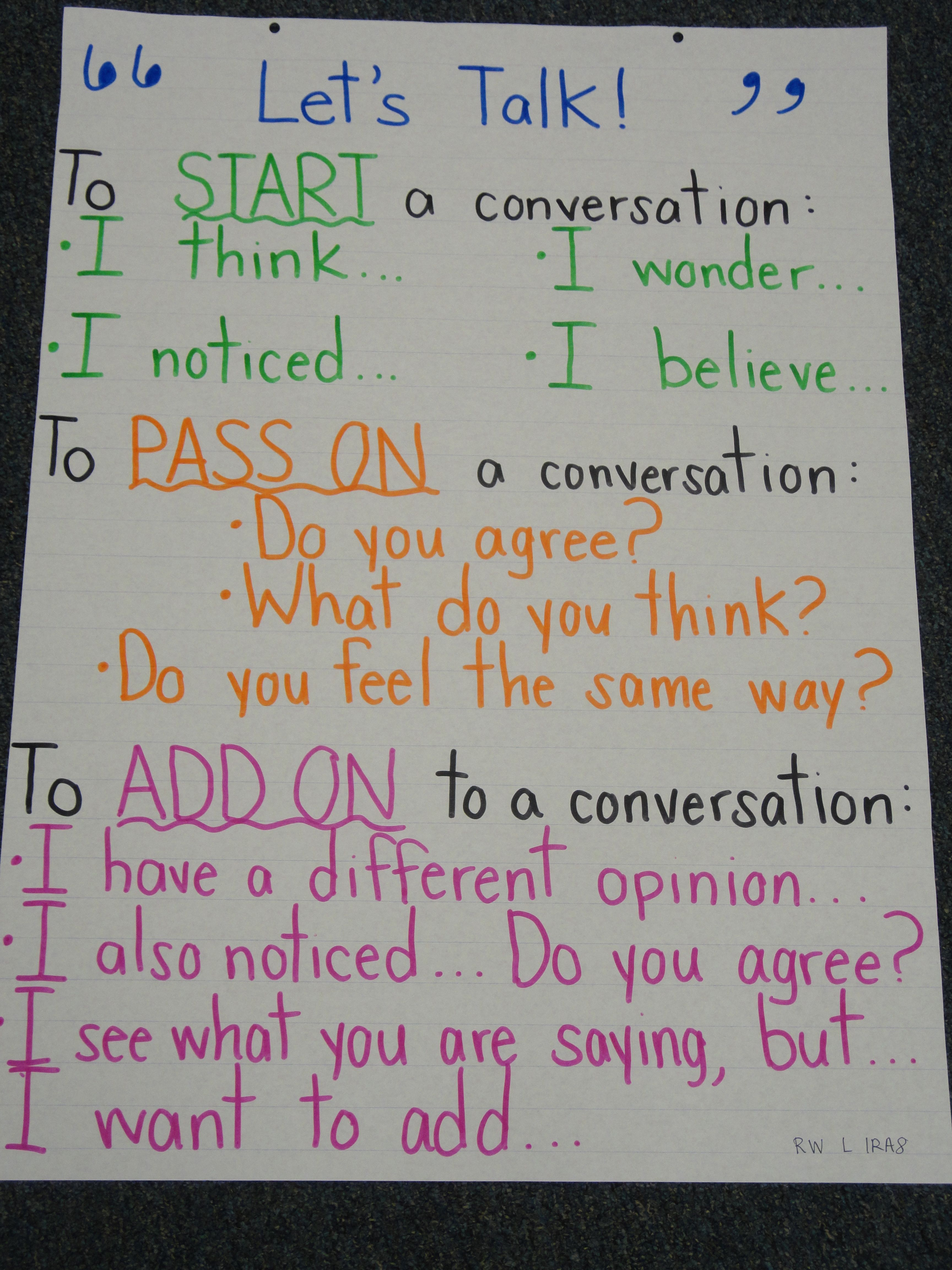 Give Students Sentence Starters To Spark Engaging Partner