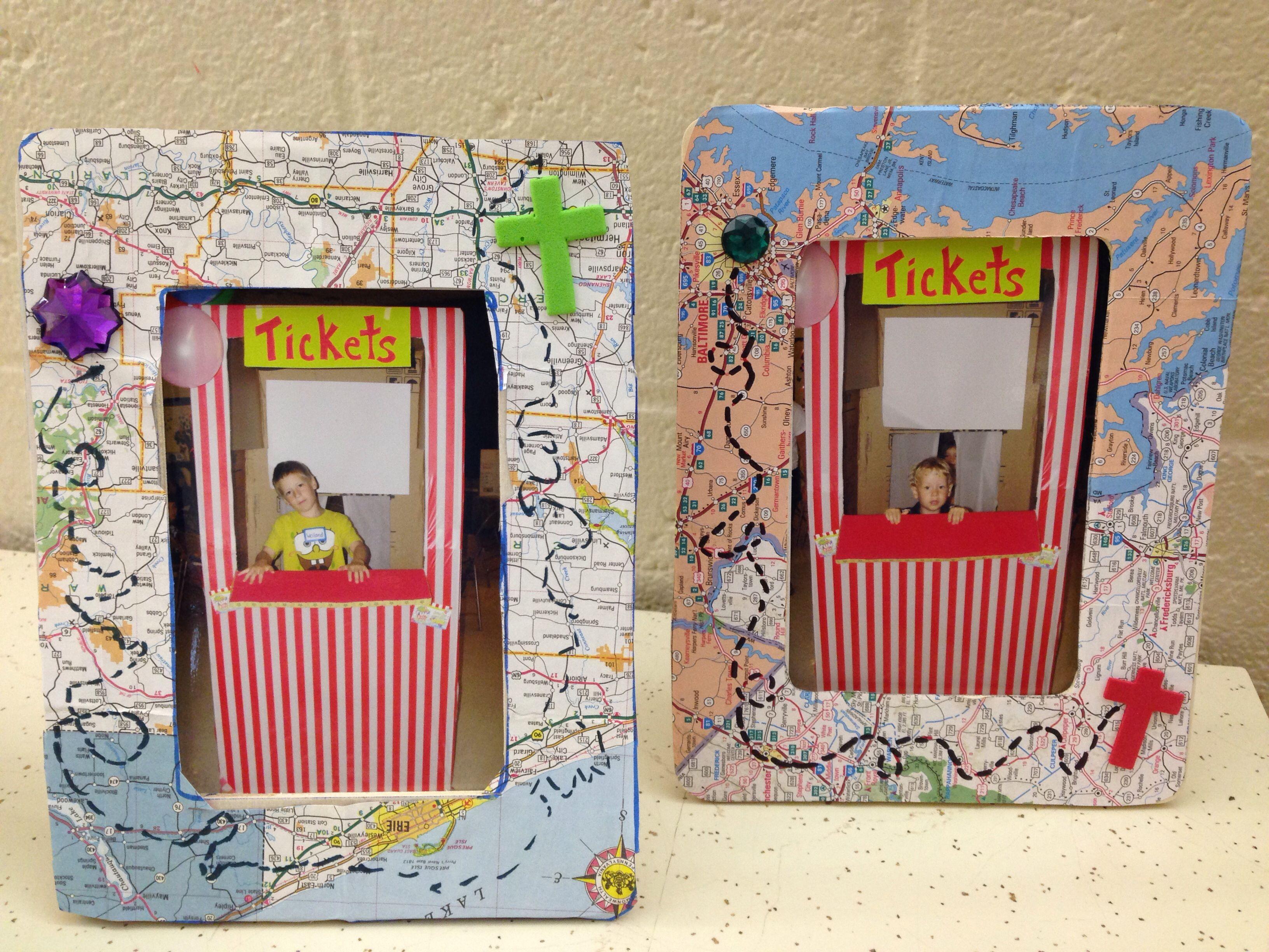 Vbs everywhere fun fair map picture frames vbs pinterest