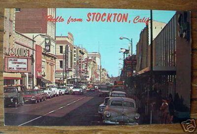 1960's Downtown Stockton CA Postcard | Stockton