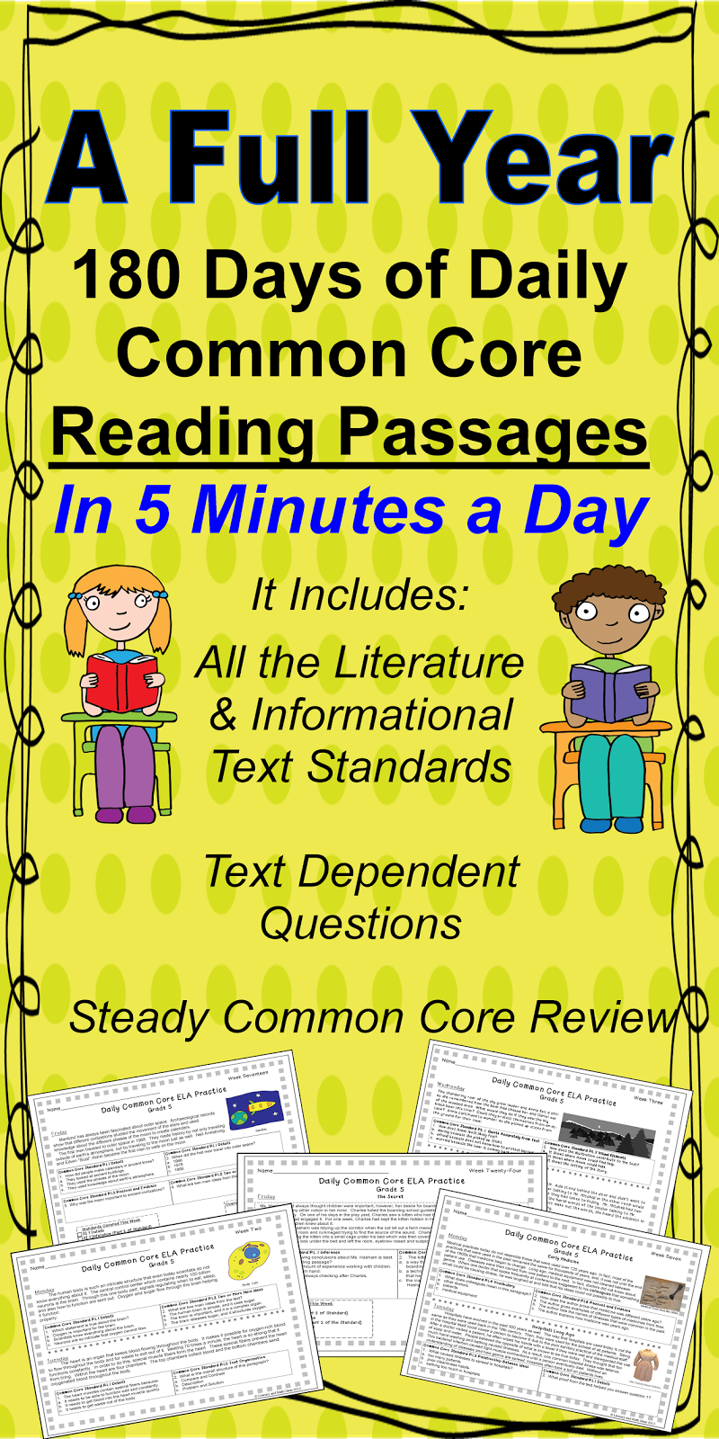 180 Different Common Core Aligned Passages for Quick and Daily ...