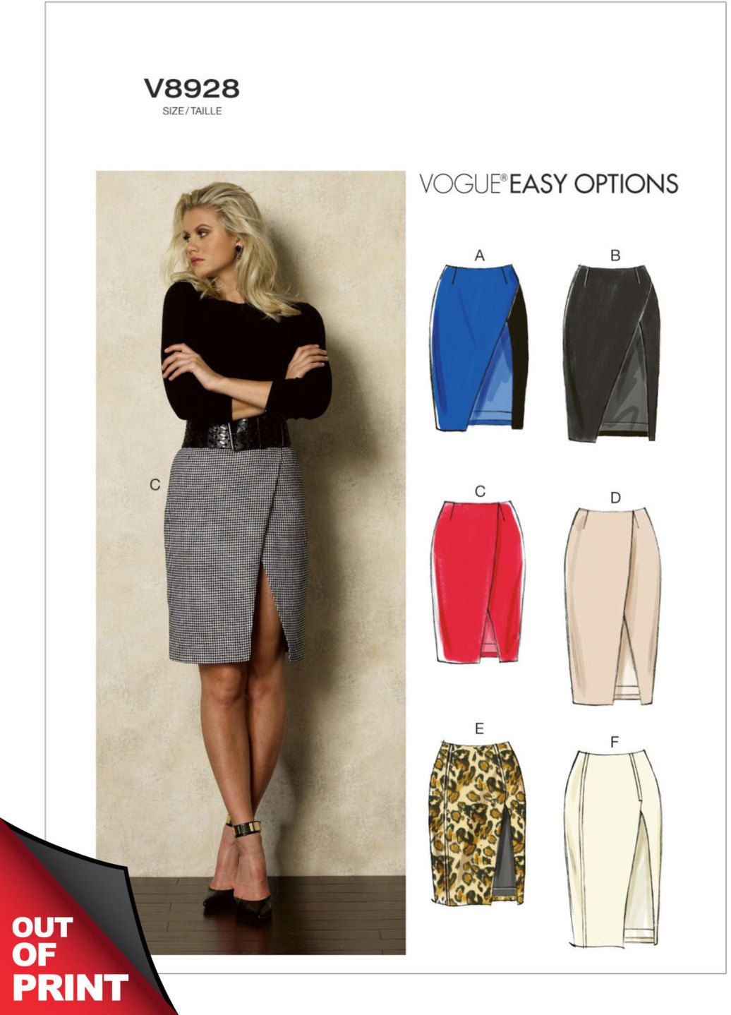 Vogue v8928 misses ultra sexy mock wrap skirt with side front vogue v8928 misses ultra sexy mock wrap skirt with side front slit sewing pattern jeuxipadfo Choice Image