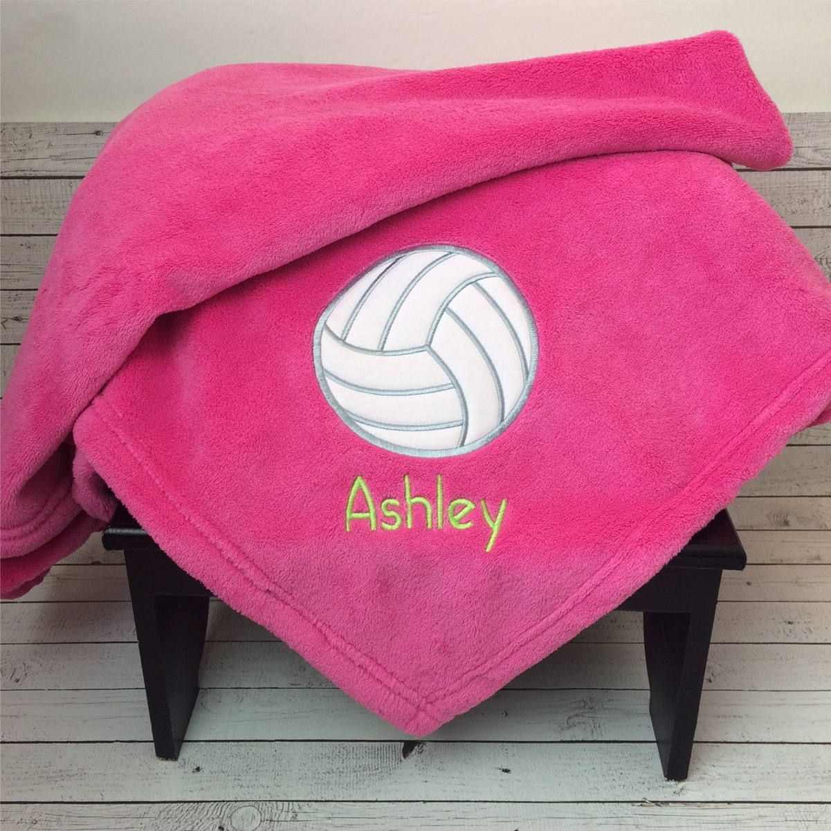 Volleyball Blanket Personalized Applique Blanket Sport Etsy Embroidered Blanket Senior Gifts Volleyball