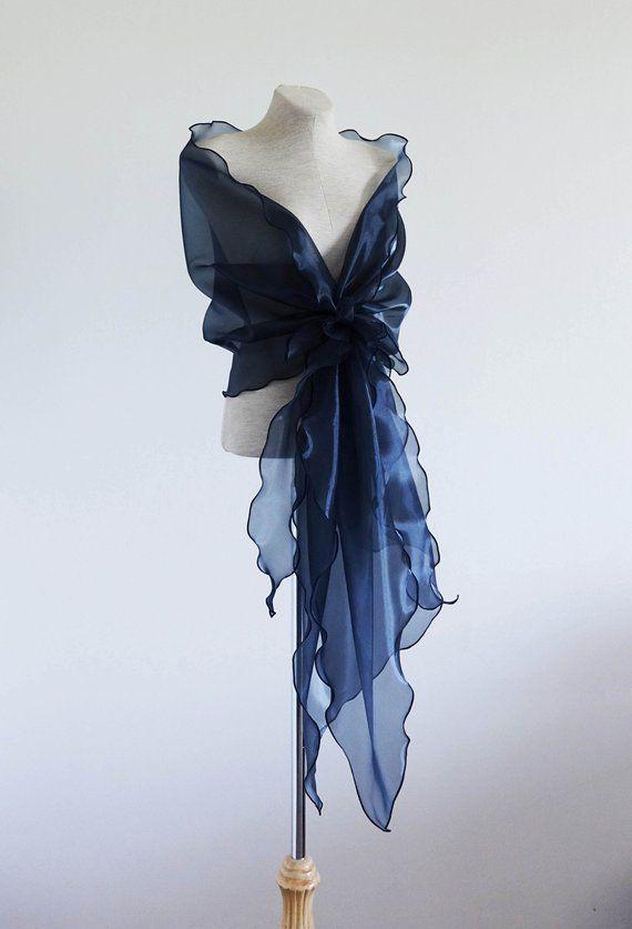 872432efdd4 Navy blue organza shawl. Mother of the bride shawl. Bridal shawl. Bridesmaid  cover up.Wedding cover