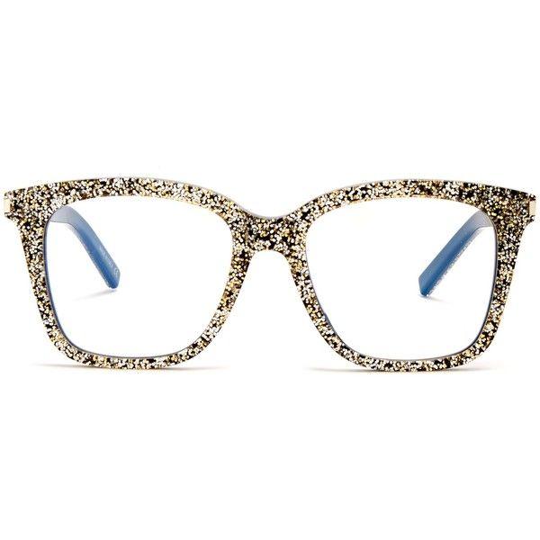 b0bd990544 D-frame glitter-acetate glasses Saint Laurent MATCHESFASHION.COM ( 365) via  Polyvore featuring accessories