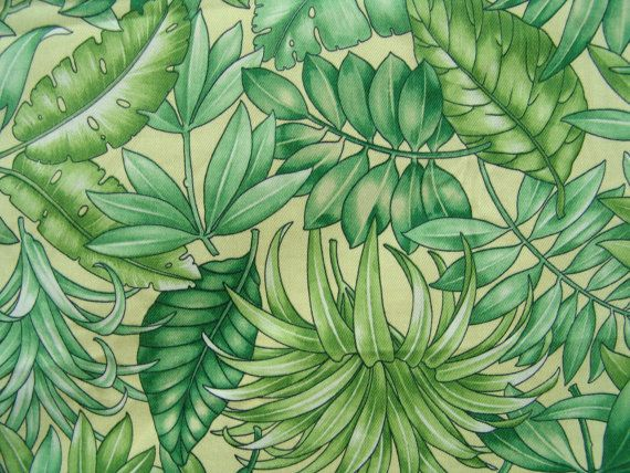 3.4 Yds Tropical Home Decor Fabric Vintage By BobbinUpandDown