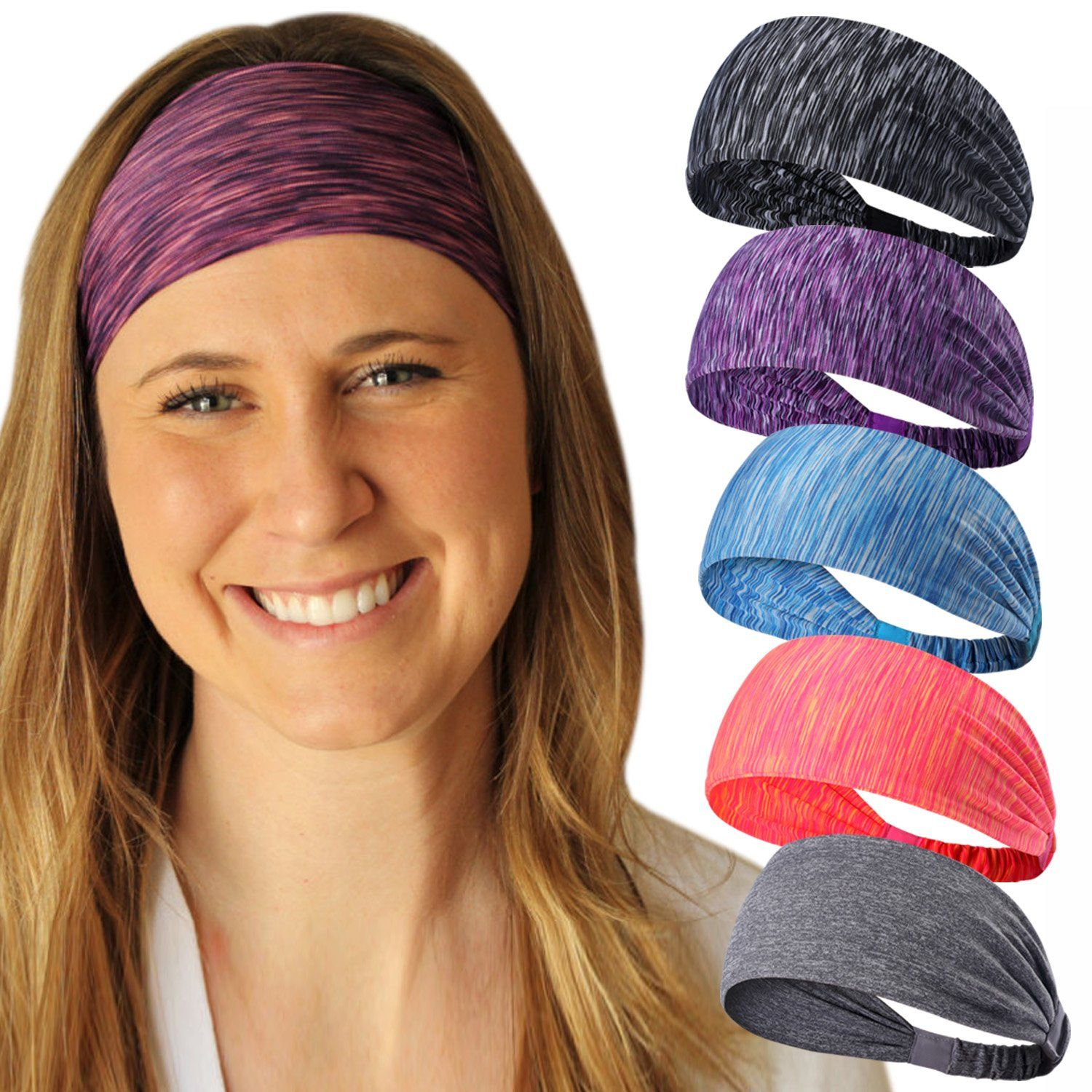 Workout Headband For Women Men Non Slip Sweatband Stretchy