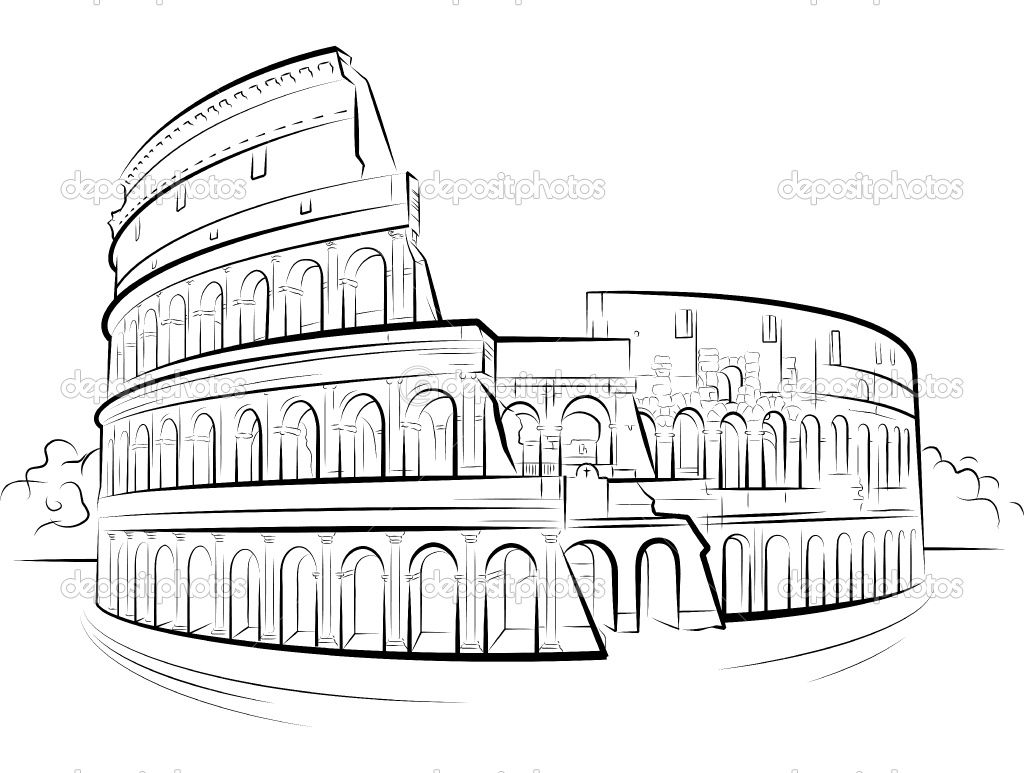 The Remains Of Colosseum From Ancient Rome Coloring Page Roma