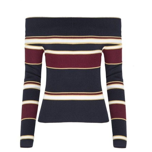 253d3399724 Burgundy and Navy Striped Off The Shoulder Sweater ( 62) ❤ liked on  Polyvore featuring tops