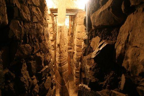 Crazy underground tunnels in Chavin de Huantar, Peru