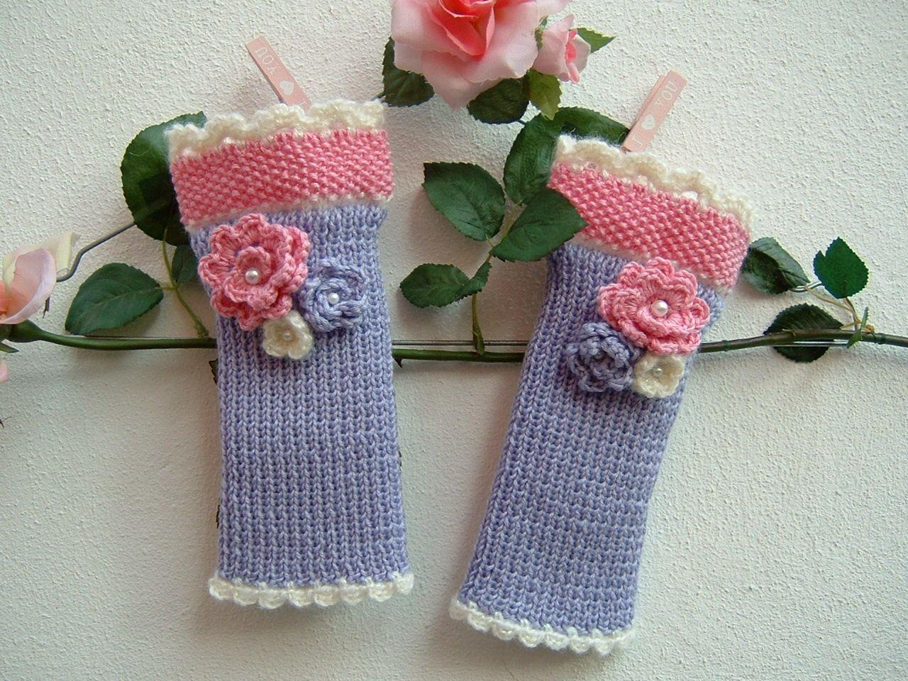 Bagno Lilla E Rosa : Mezzi guanti fatti a mano ai ferri guanti senza dita a maglia