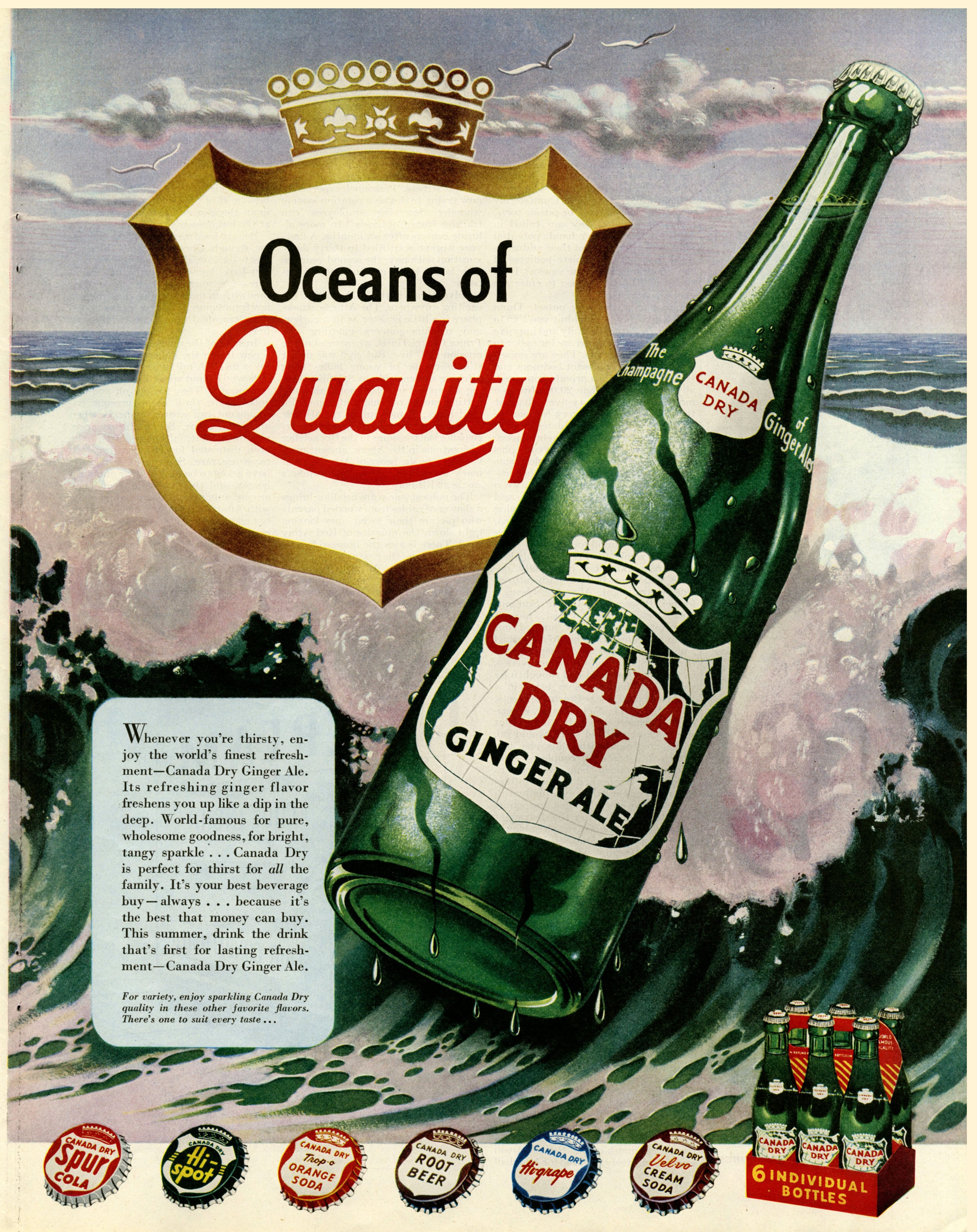 """Canada Dry Ginger Ale Ad ~ """"Oceans of Quality"""""""