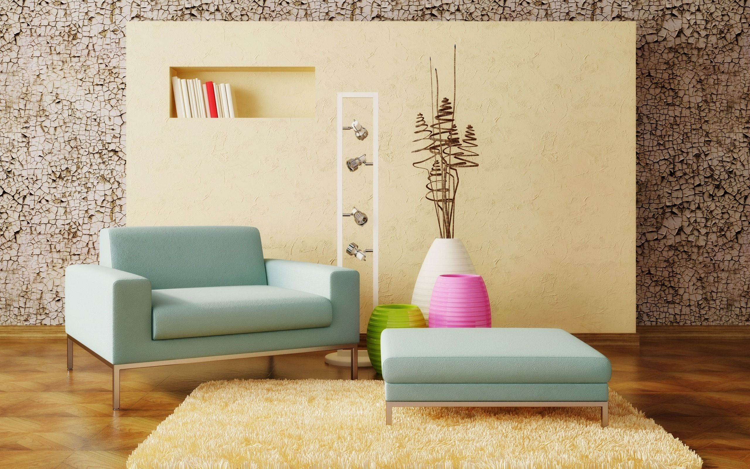 interior Light Blue Arms Sofa Wallpapers Ground Cracks Steel Footer ...