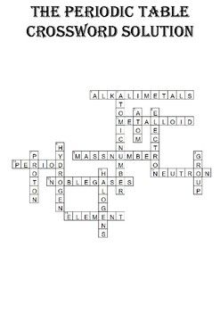 Chemistry Crossword Puzzle: The periodic table (Includes ...
