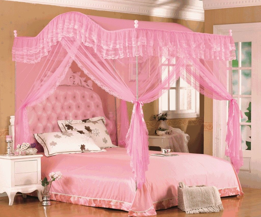 Princess Bed Frame With Stainless Steel Canopy And Pink Leather Tufted Headboard Added Pink Ruffle Drap Girls Bed Canopy Princess Canopy Bed Toddler Canopy Bed