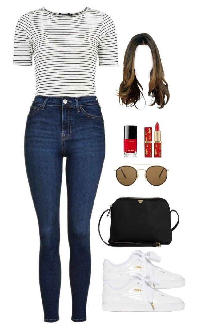 """Sin título #953"" by karlamichell on Polyvore featuring moda, Boohoo, Topshop, Puma, The Row, Ray-Ban y Chanel"