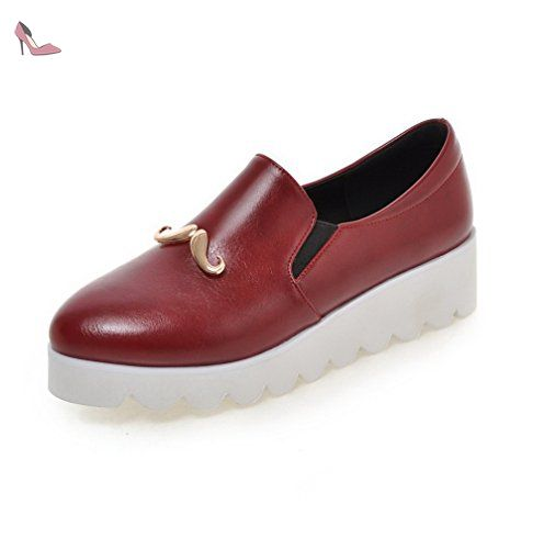 VogueZone009 Femme à Talon Correct Pu Cuir Couleur Unie Rond Chaussures Légeres, Rouge Vineux, 36 - Chaussures voguezone009 (*Partner-Link)