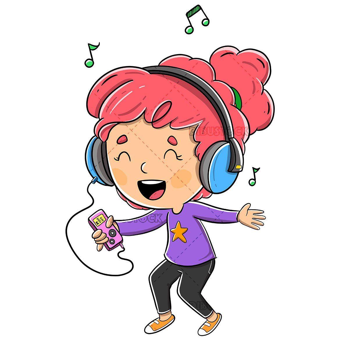Girl listening to music with headphones music cartoon