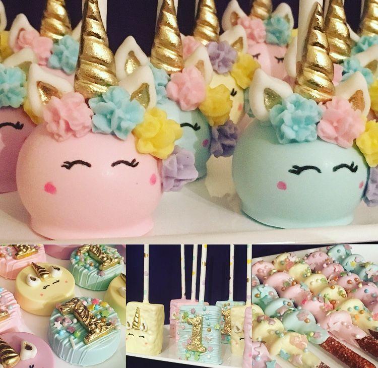 Unicorn themed treats Unicorn party ideas Pastel unicorn ...