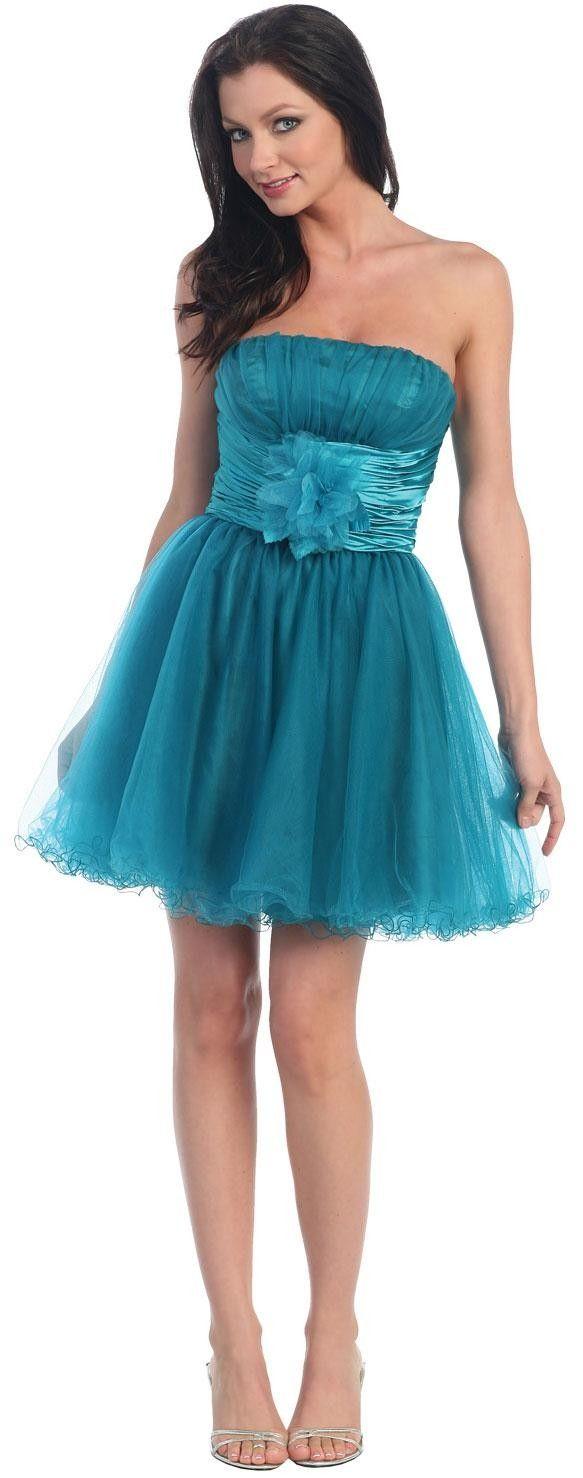 English Net Short Prom Dress With Flowered Waistline | VOGUE ...