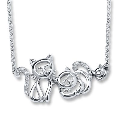 Cat Family Necklace Diamond Accents Sterling Silver Chat
