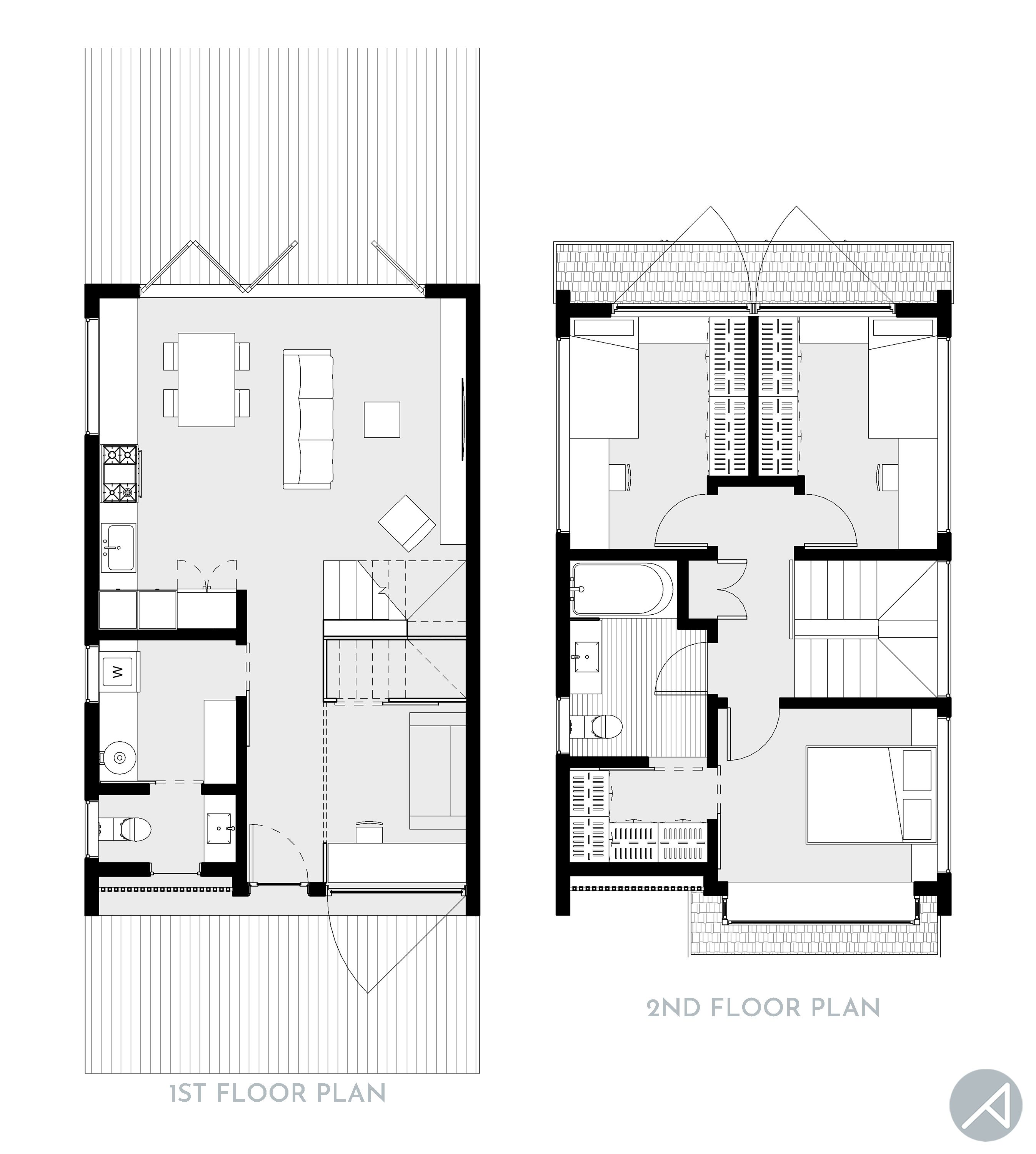 """Modern 3-Bedroom Compact Small House 1,150 sf 2-story structure, 3 Beds + 1 Small Den, 1.5 Baths, 20'-0"""" W x 31'-0"""" D More renderings and previews are available on our website. Please contact us directly for more info and pricing. #tinyhouse #smallhouseplans #smallhousedesign #modularhomes #grannypods #tinyhouse #smallhome #tinyhome"""