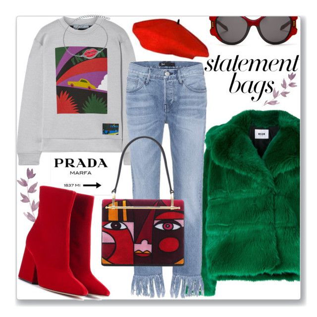 """""""Statement Bags!"""" by prettynposh2 ❤ liked on Polyvore featuring MSGM, Prada, Maison Margiela, Collette Z, 3x1, maison and statementbags"""