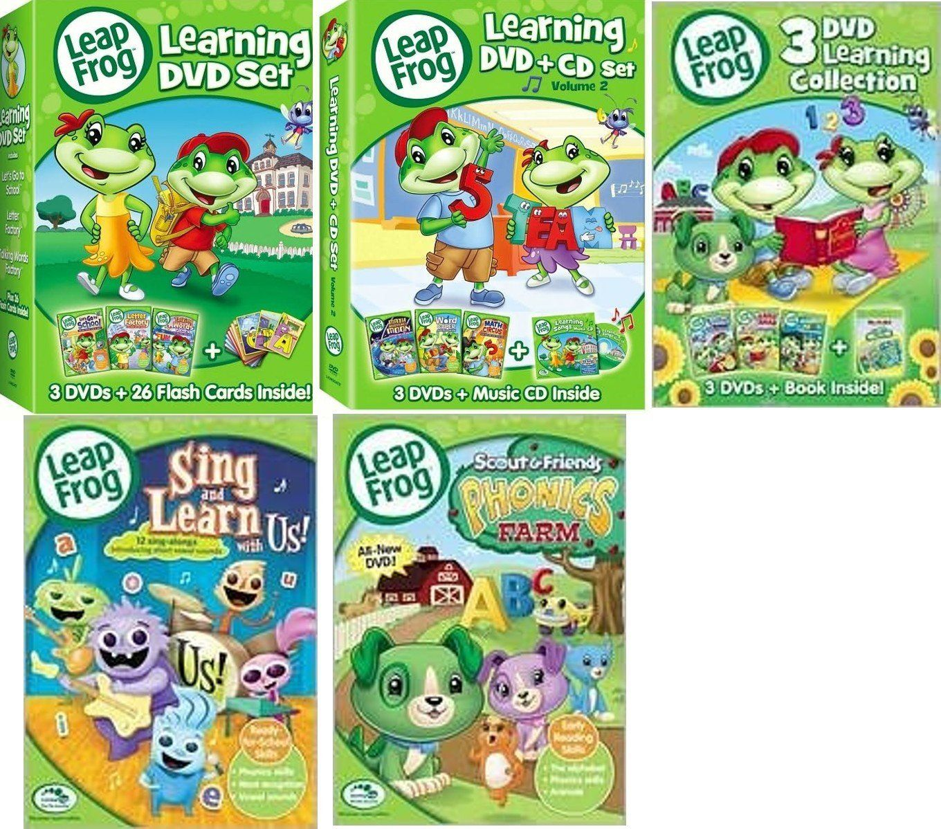 Amazoncom leapfrog 11 dvds plus cd flash cards and book for Leapfrog three letter words