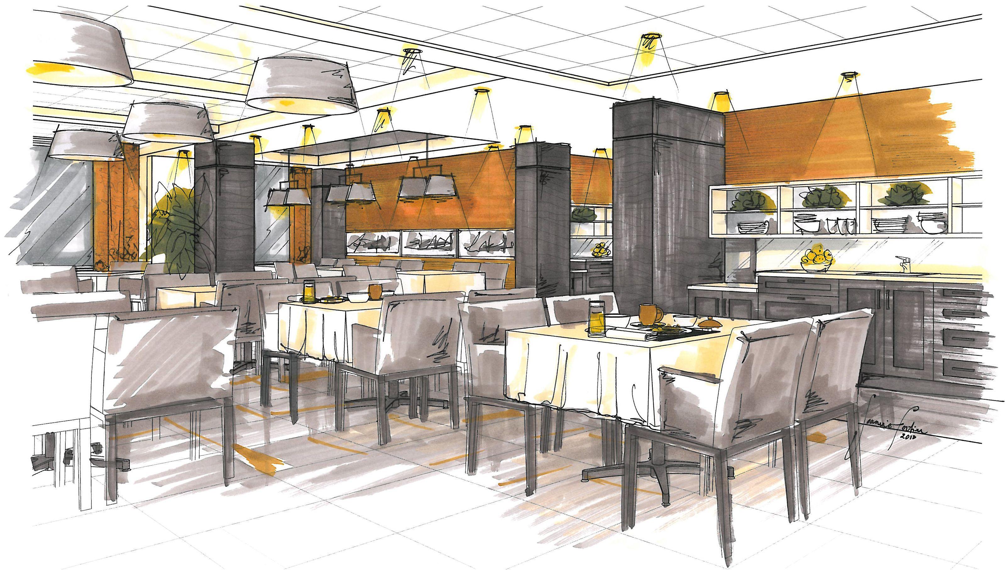 Wonderful Projet Résidence Rive/ Dessin à La Main/ Perspective/ Salle à Mange/ Design