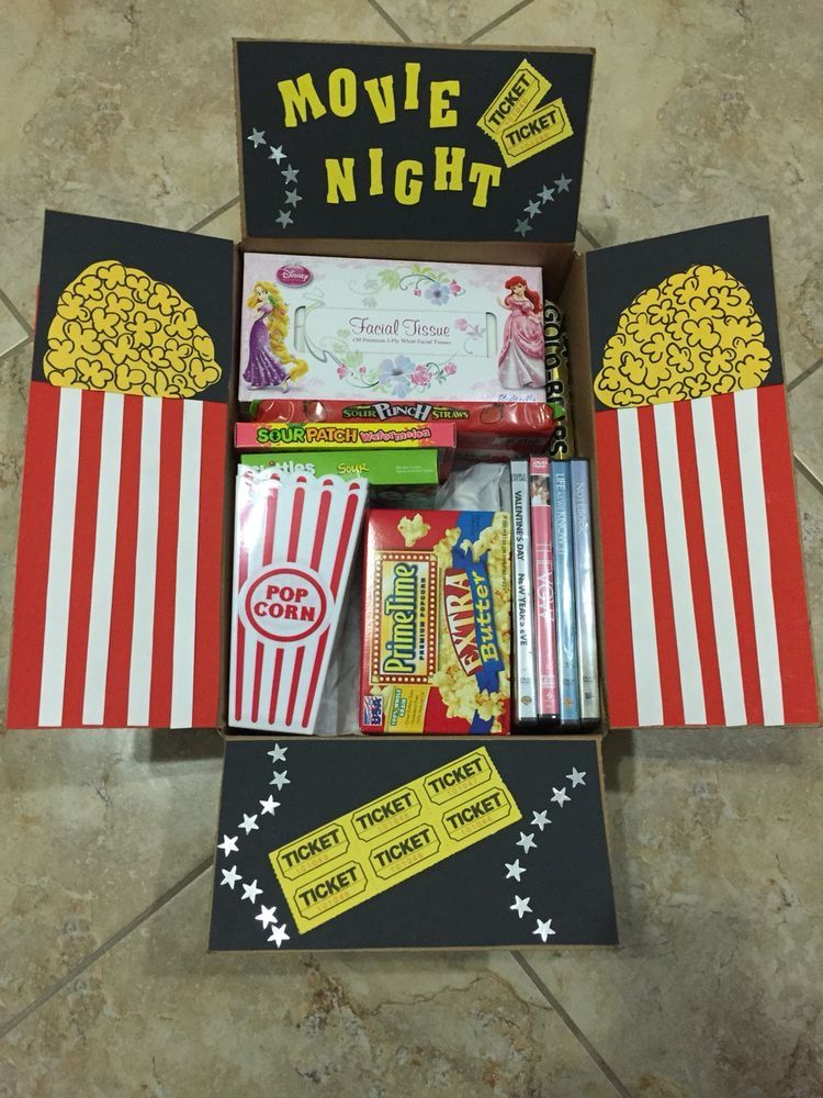 Movie Night Gift Box Easy diy christmas gifts, Easy