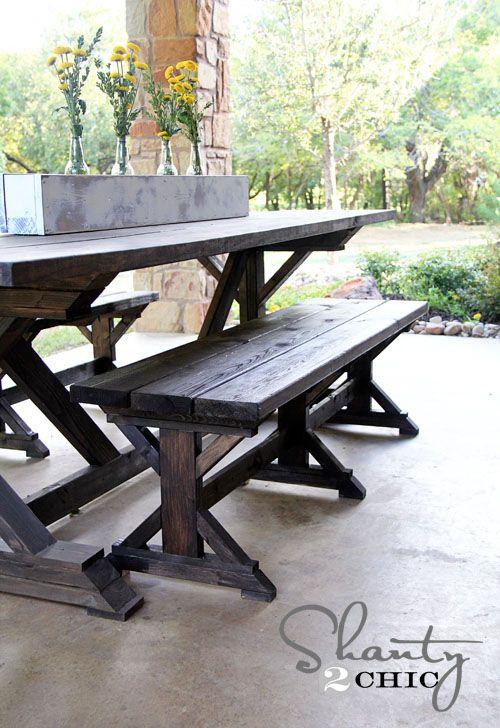 How To Build A Chunky X Farmhouse Table Farmhouse Bench Diy