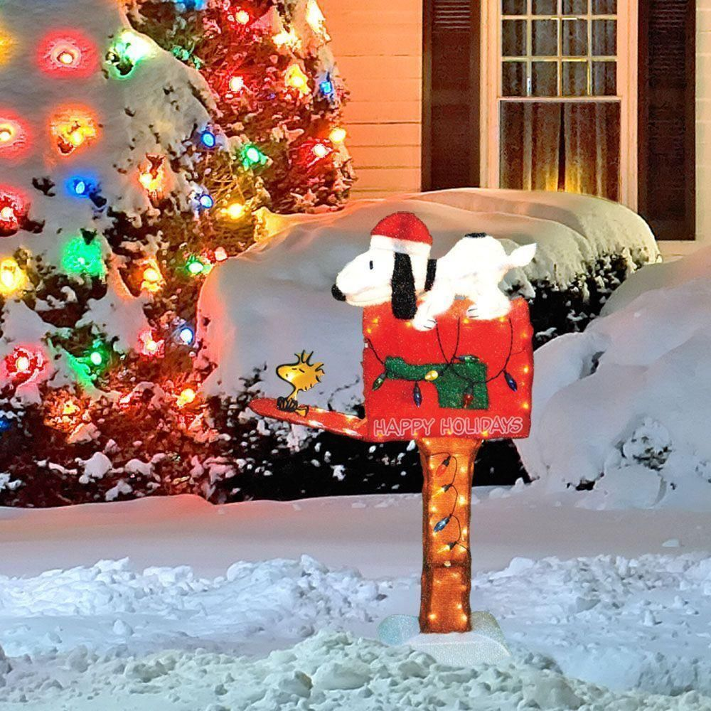 Animated Pre-lit Snoopy Mailbox Christmas Decoration 4' NEW ...