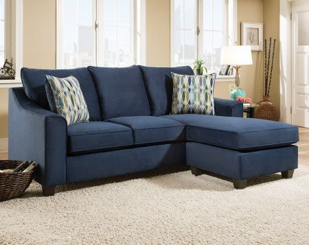 Dark Blue Sofa With Accent Pillows Nile 2 Pc