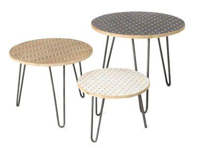 Lot De 3 Tables Basses Gigognes En Bois Et Pieds En Fer L605505