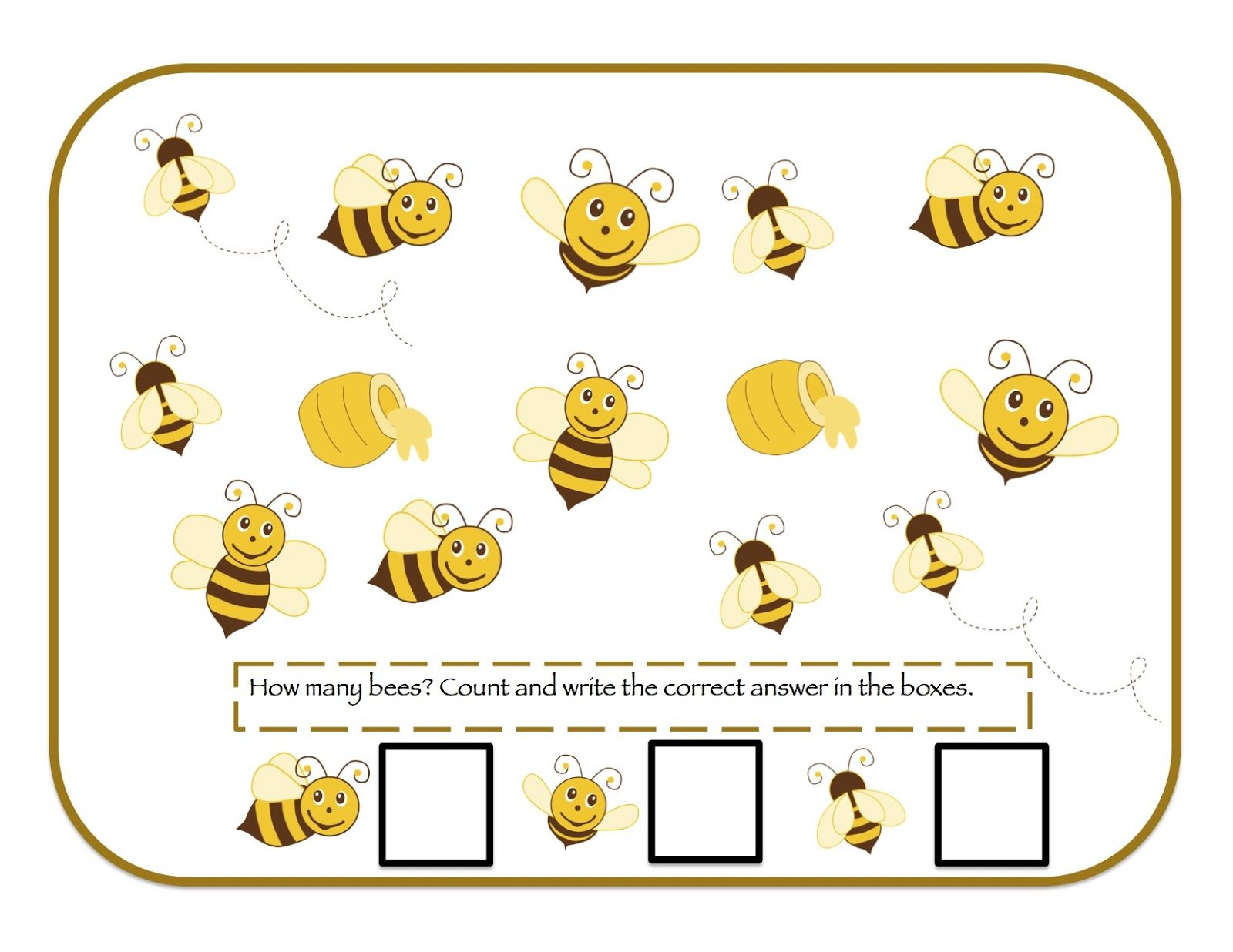 How Many Bees Preschool Kinder Worksheet