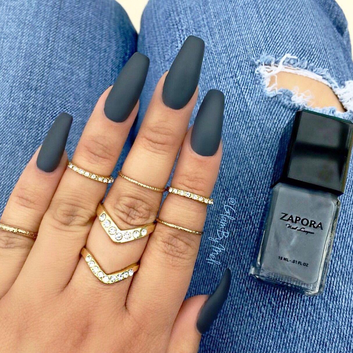 GUNMETAL – ZAPORA Nail Lacquer | Nails | Pinterest | Coffin nails ...