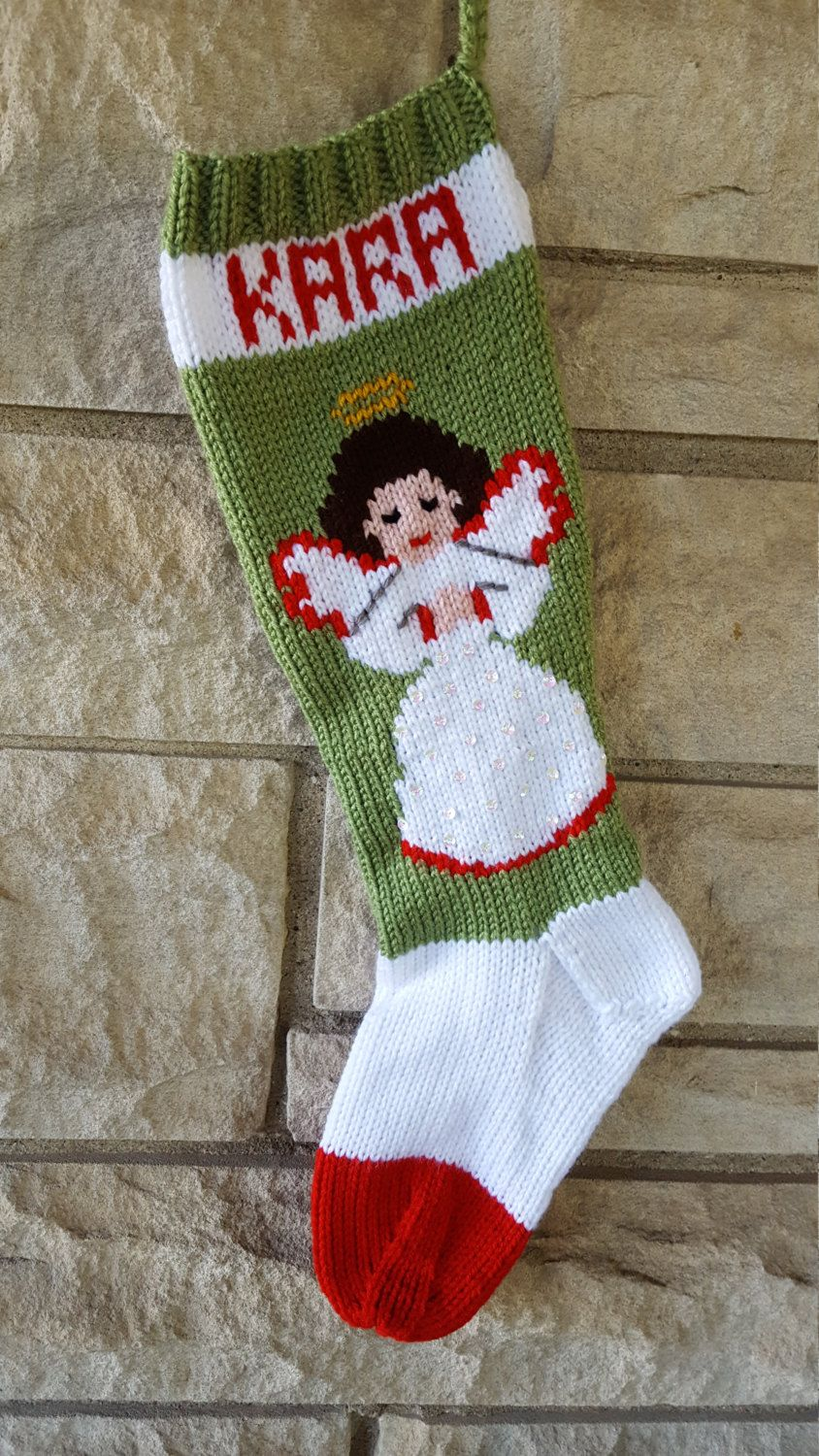 Angel Hand Knitted Christmas Stocking | Knitted christmas ...