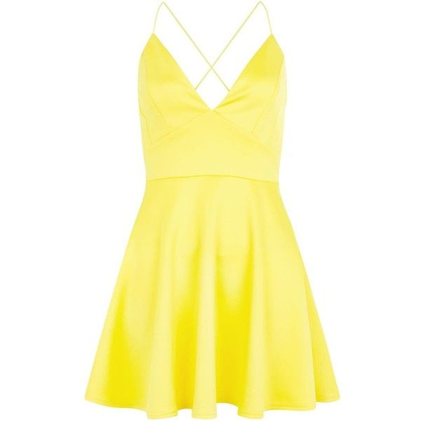 AX Paris Yellow Plunge Neck Skater Dress (41 CAD) ❤ liked on Polyvore featuring dresses, vestidos, yellow, yellow fit and flare dress, fit & flare dress, strappy skater dress, mini dress and plunging neckline dress