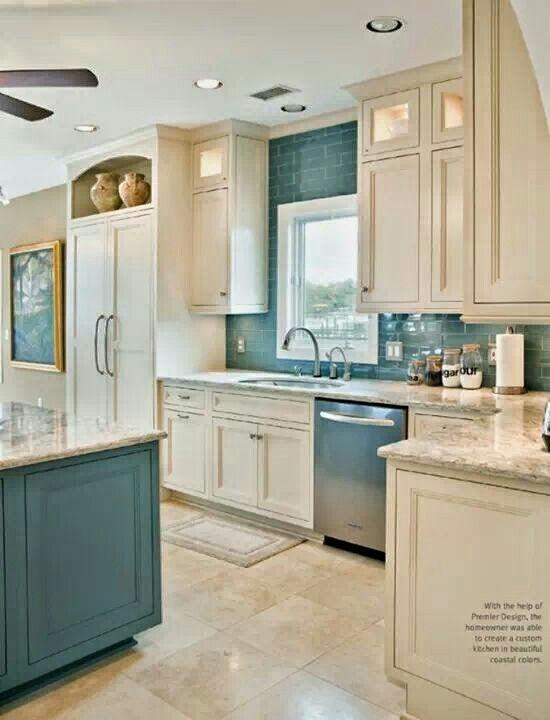Cocina celeste y blanca | mis cocinas | Pinterest | Cocinas blancas ...