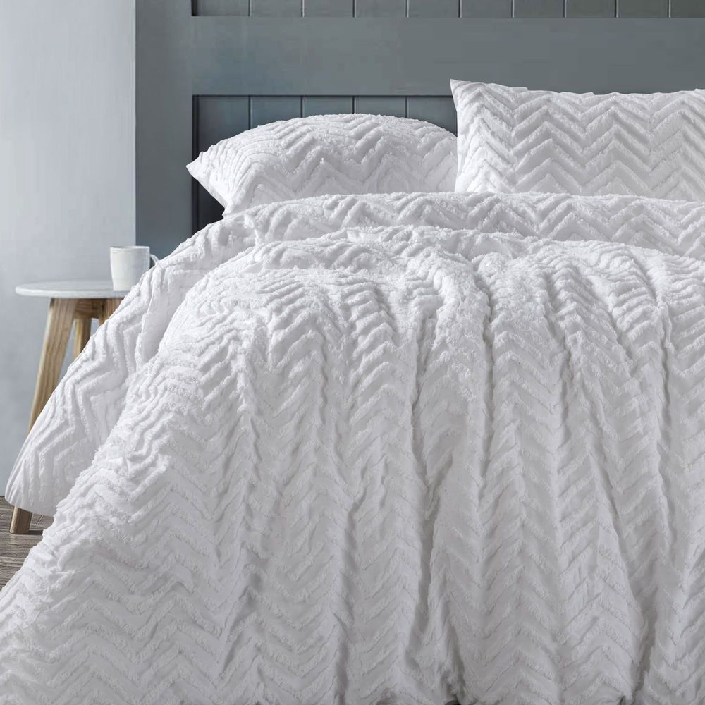 Cotton Chenille Chevron White On White Quilt Doona Duvet Cover Set