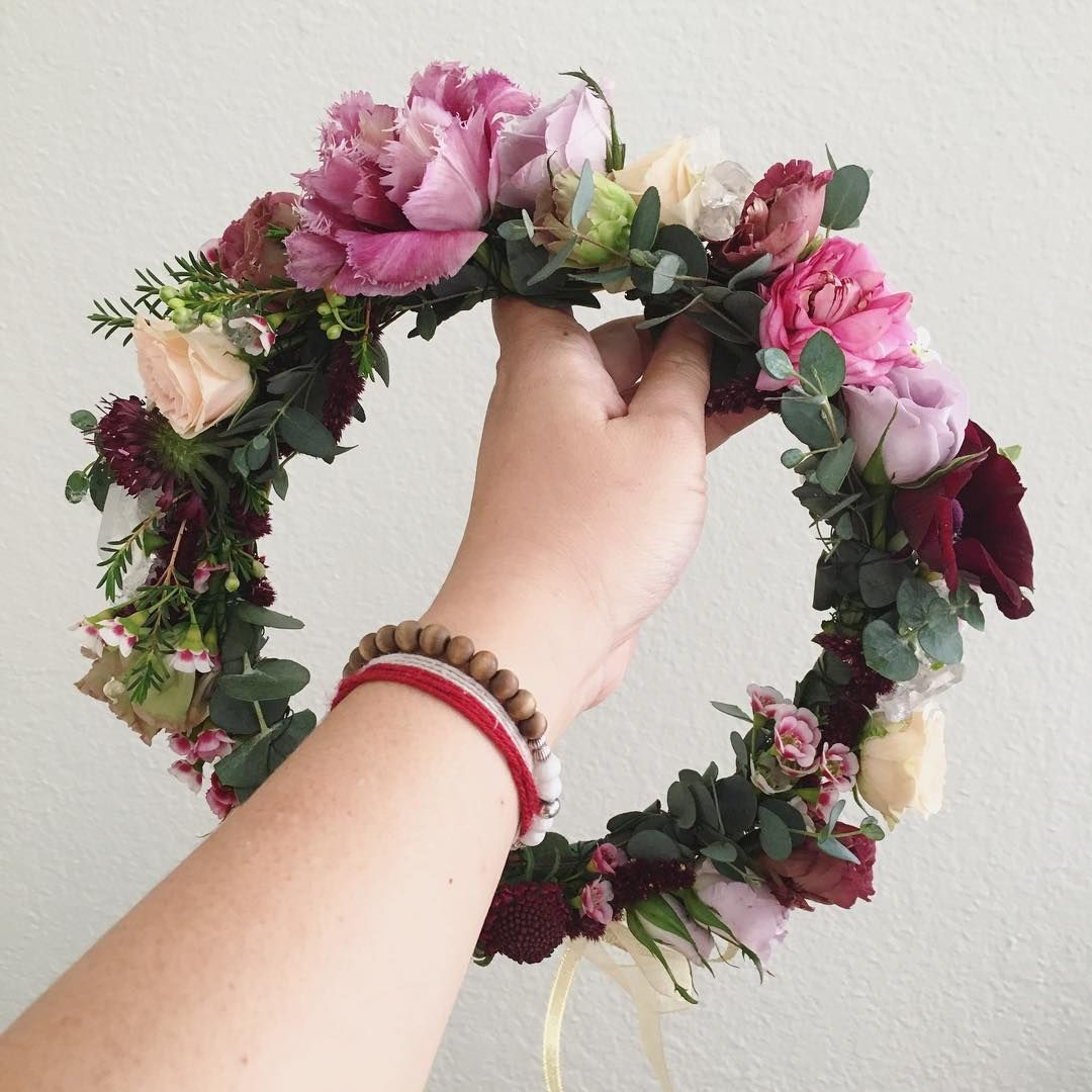 Celestial Inspired Flower Crown With Fringed Tulips Pink Ranunculus And Burgundy Cream Spray Roses Www Thecrowncollecti Flower Crown Spray Roses Lavender Spray