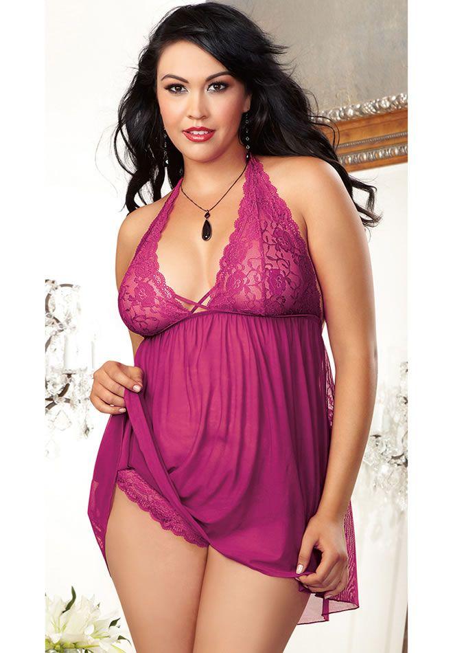 721e2b31834 Sexy Plus Size Raspberry Babydoll
