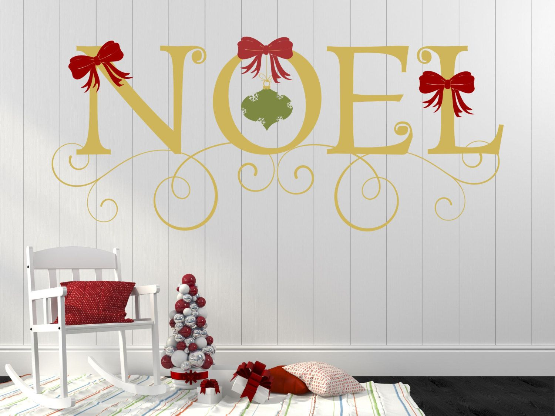 Merry Christmas Decal Noel With Ornament Decor Chrismas Wall