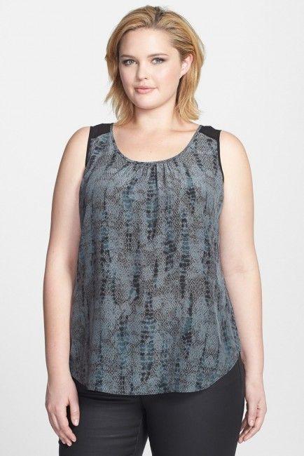 d40de57060f Eileen Fisher Scoop Neck Silk Tank (Plus Size)