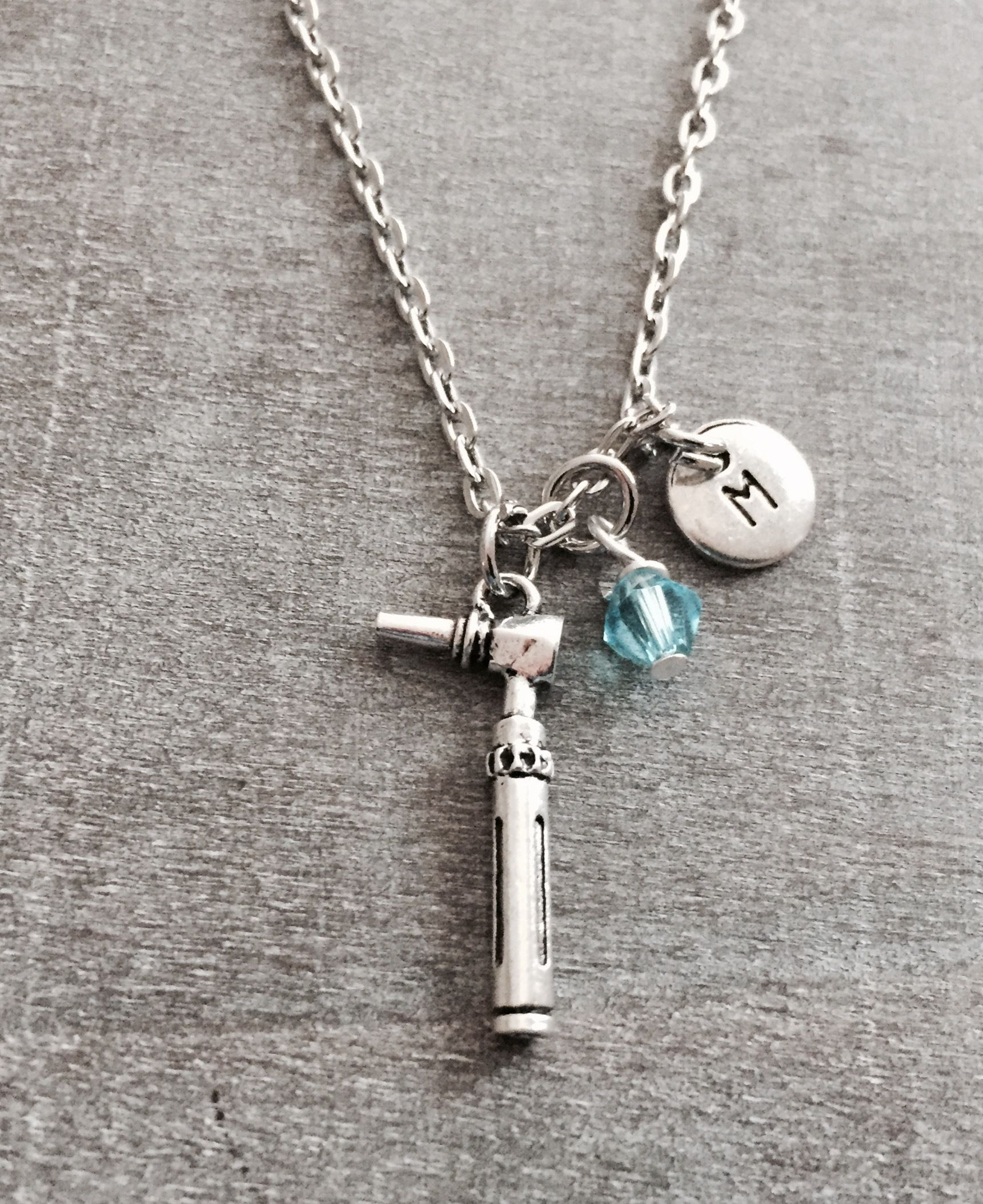 Silver Necklace ,Otoscope jewelry, medical necklace, audiology ...