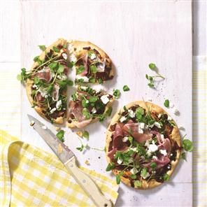 Caramelised onion pastry pizzas with Parma ham