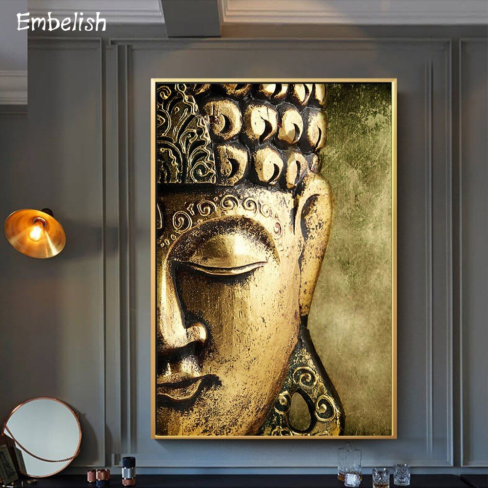 Buddha Statue Wall Decoration Canvas Art Print Poster Home Living Room Painting