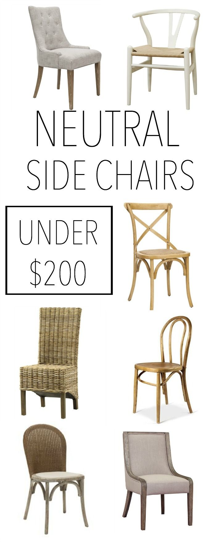 Neutral Side Chairs Under $200 | Dining Chairs, Side Chair And Decorating